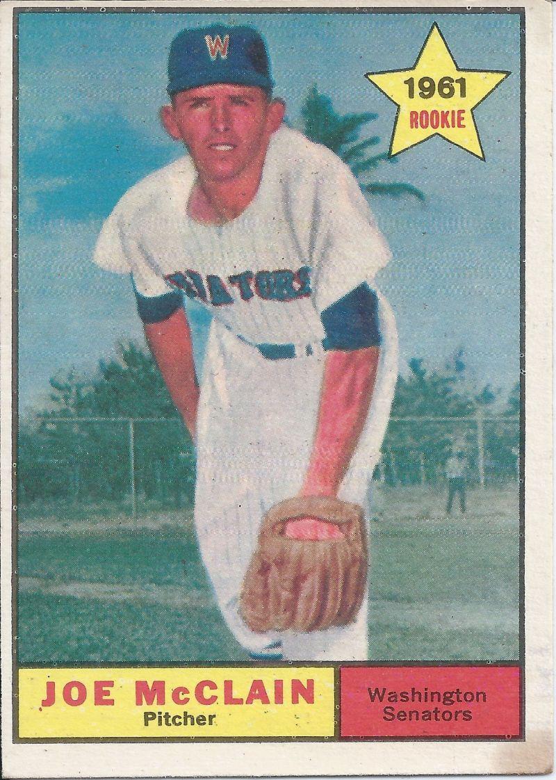 1961 topps 488 rookie joe mcclain washington senators