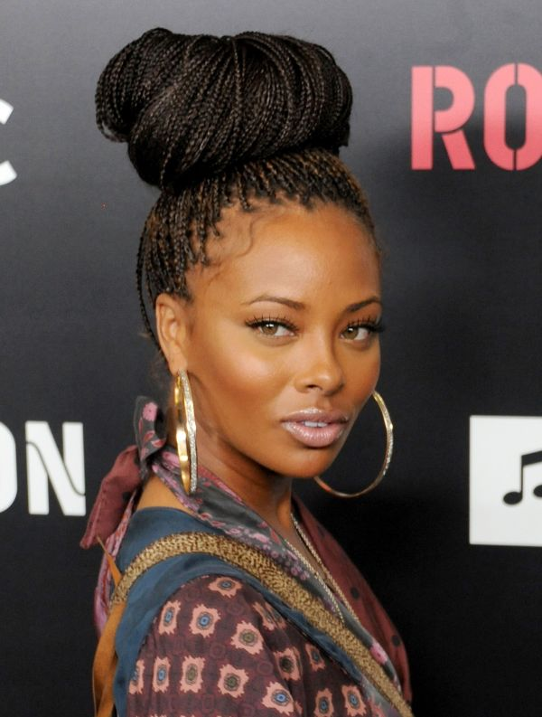 Image result for boxed braids high bun eva marcille