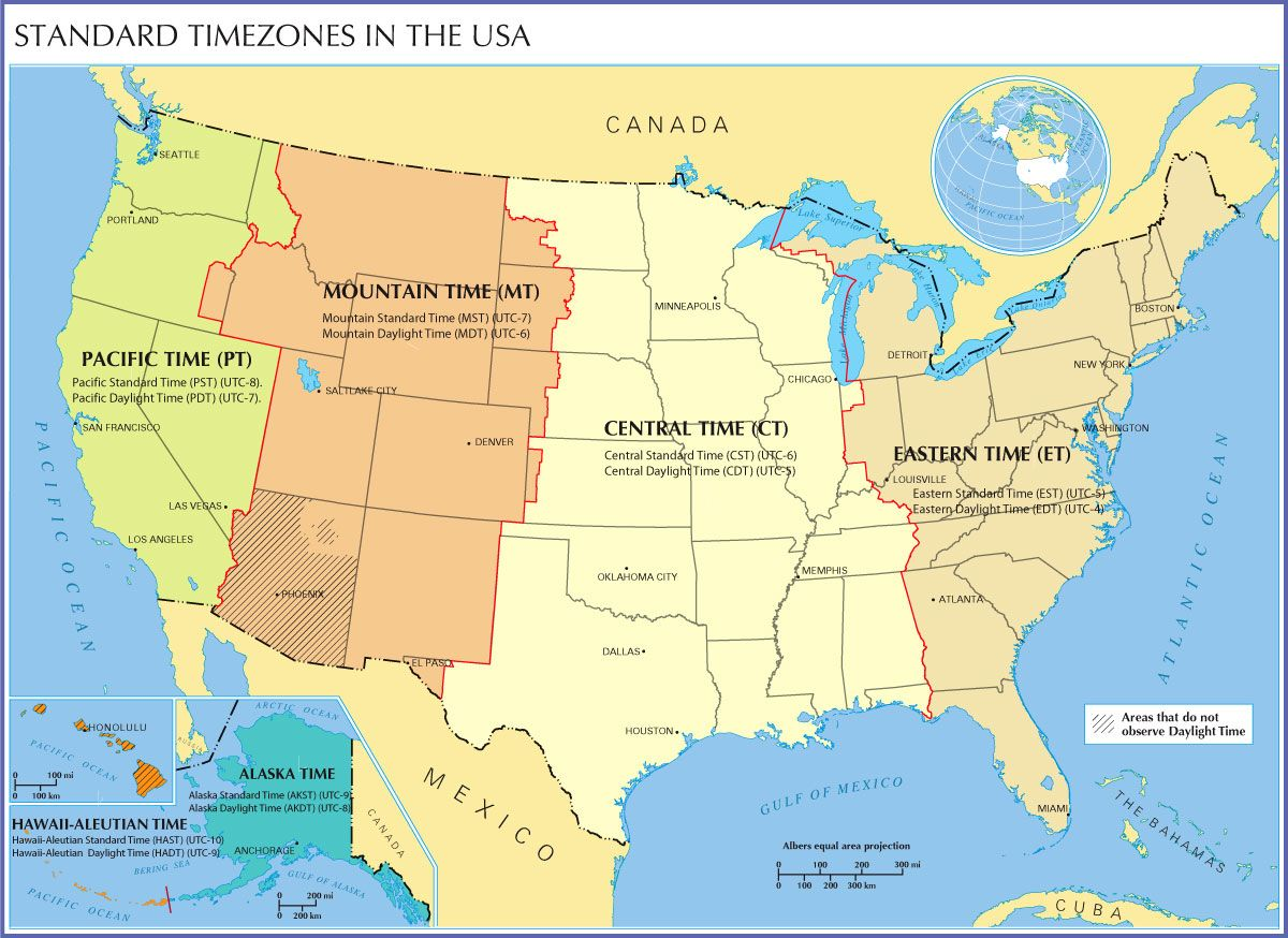 Time Zone Map Of The United