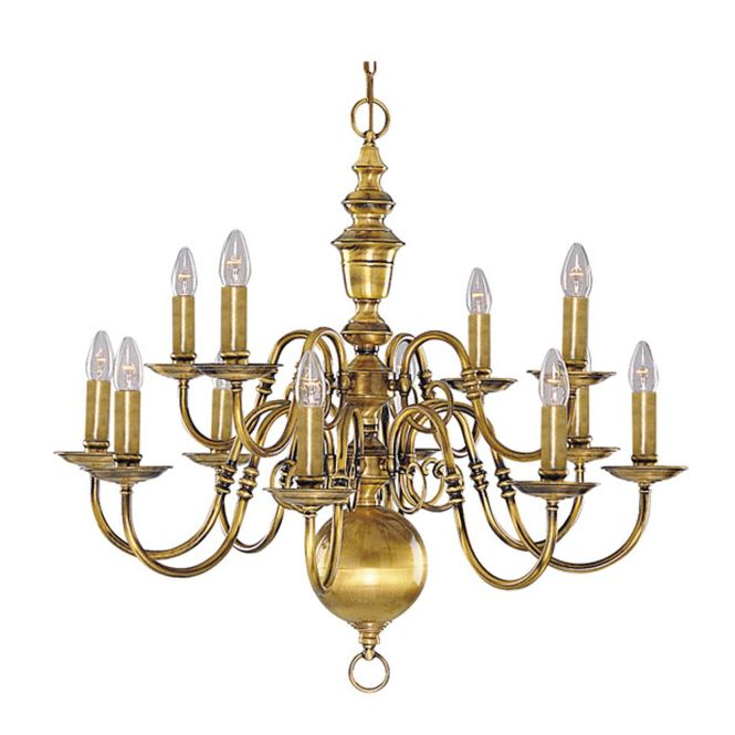 Antique Chandeliers Searchlight Flemish 12 Light Chandelier Brass