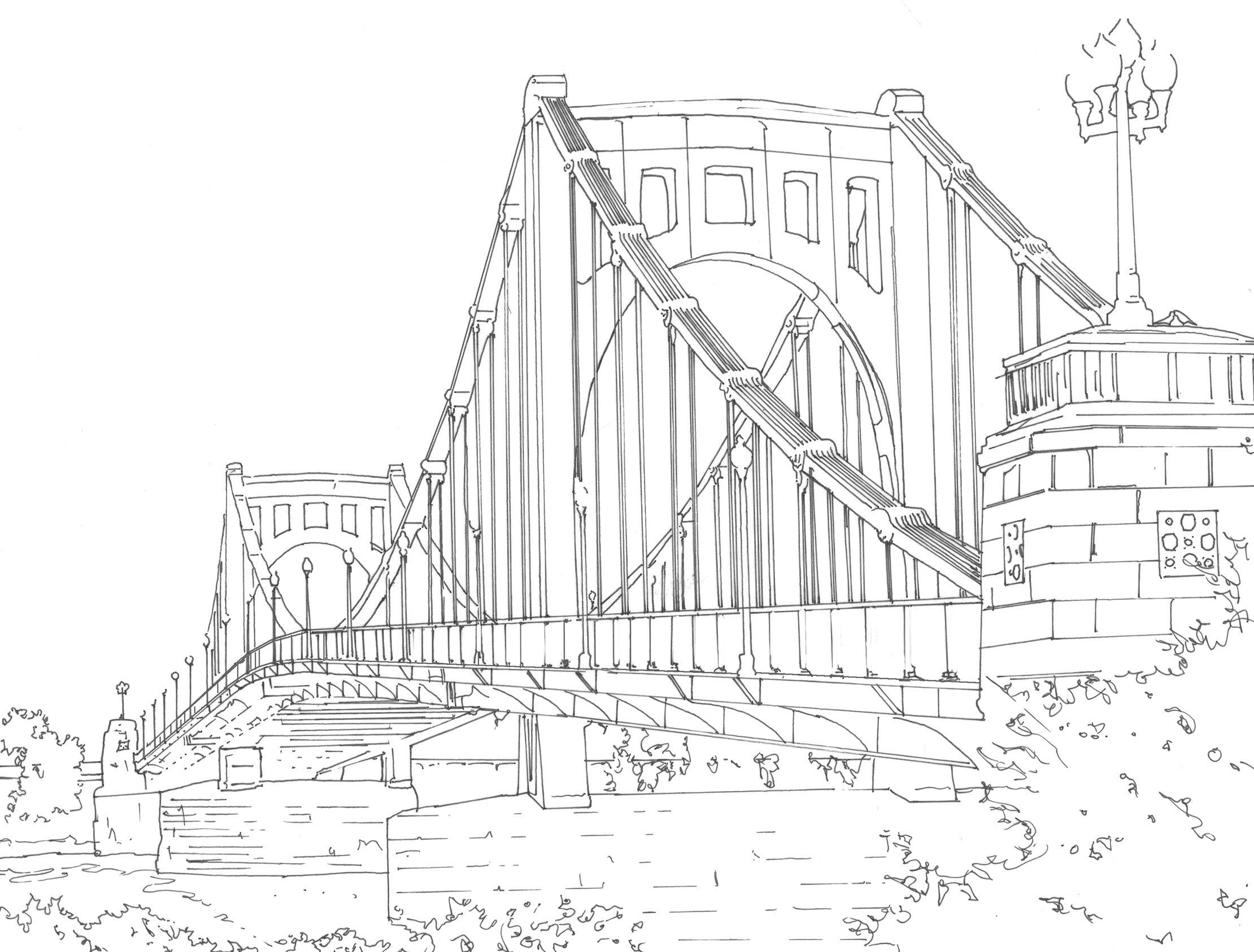 Detailed Line Drawing Bridges