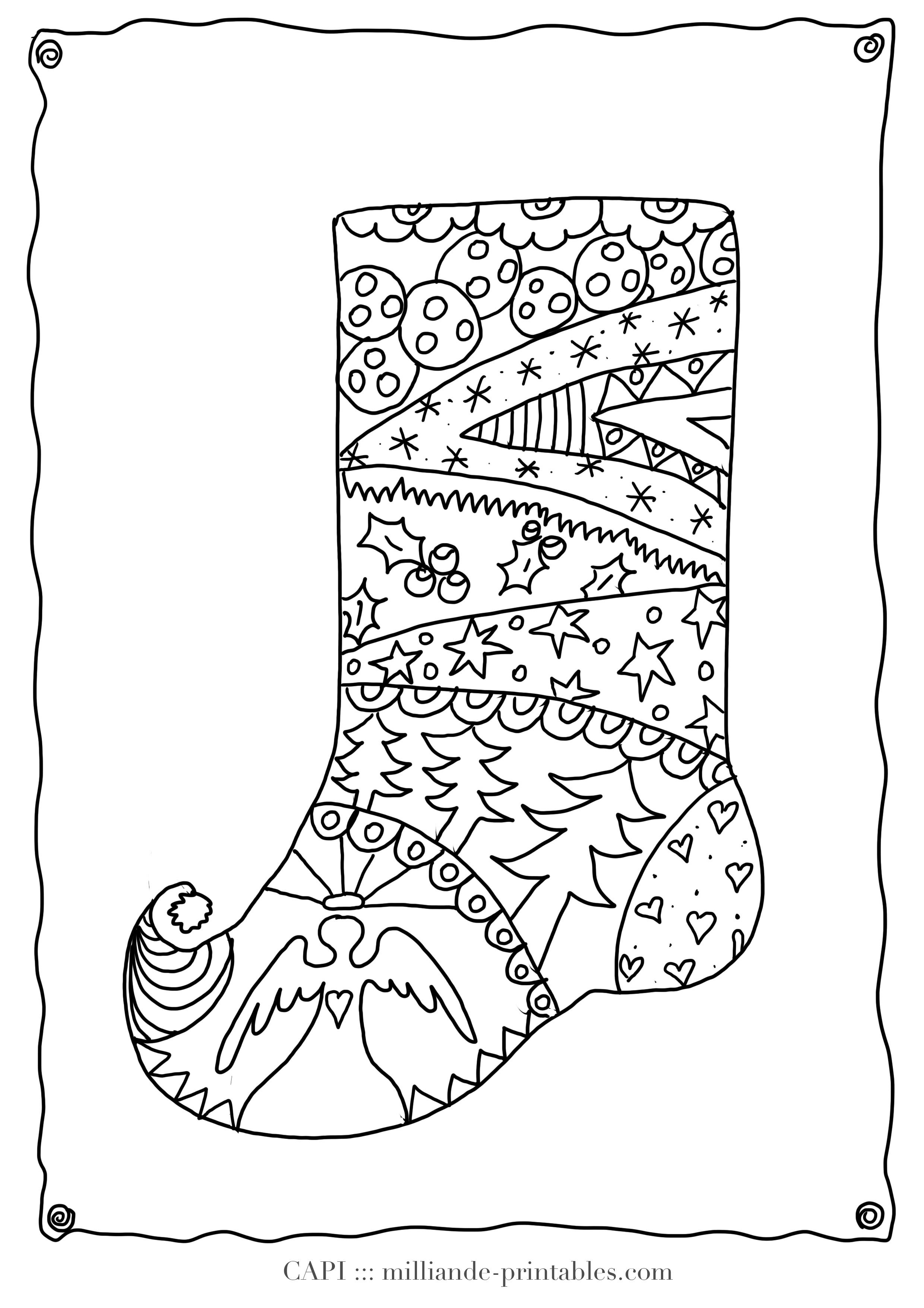 Christmas Stocking To Color Free Printable Christmas Coloring Pages For Kids Detailed Adult
