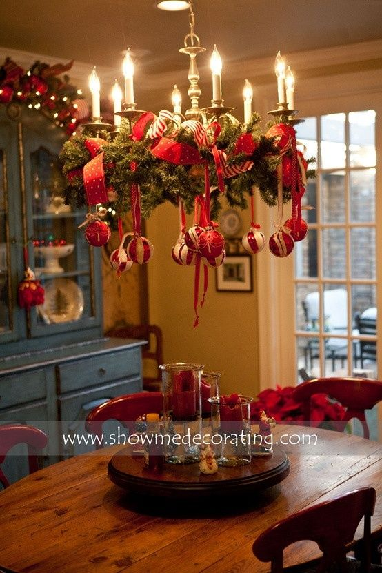 Attach Wreath With Ribbon To Chandelier Over Kitchen Table For The Holidays