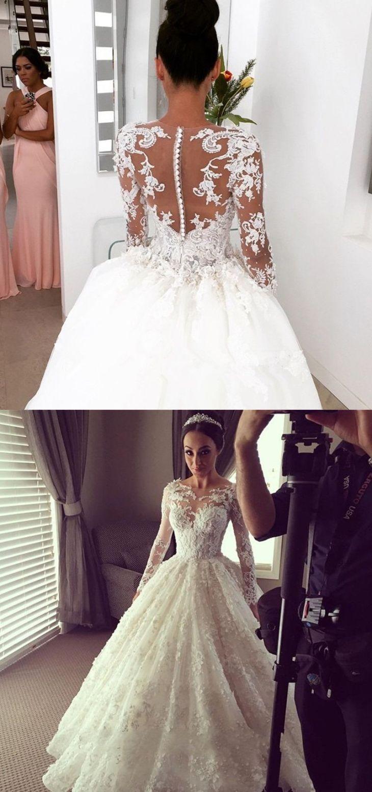 Vintage Lace Wedding DressesBridal Gown with Long Sleeves  Elegant