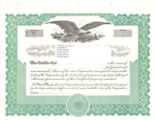 sample stock certificate - free download