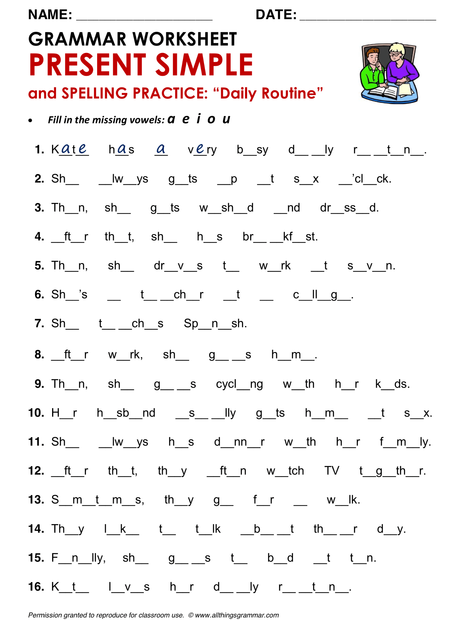 English Grammar Present Simple And Spelling Practice Daily Routine