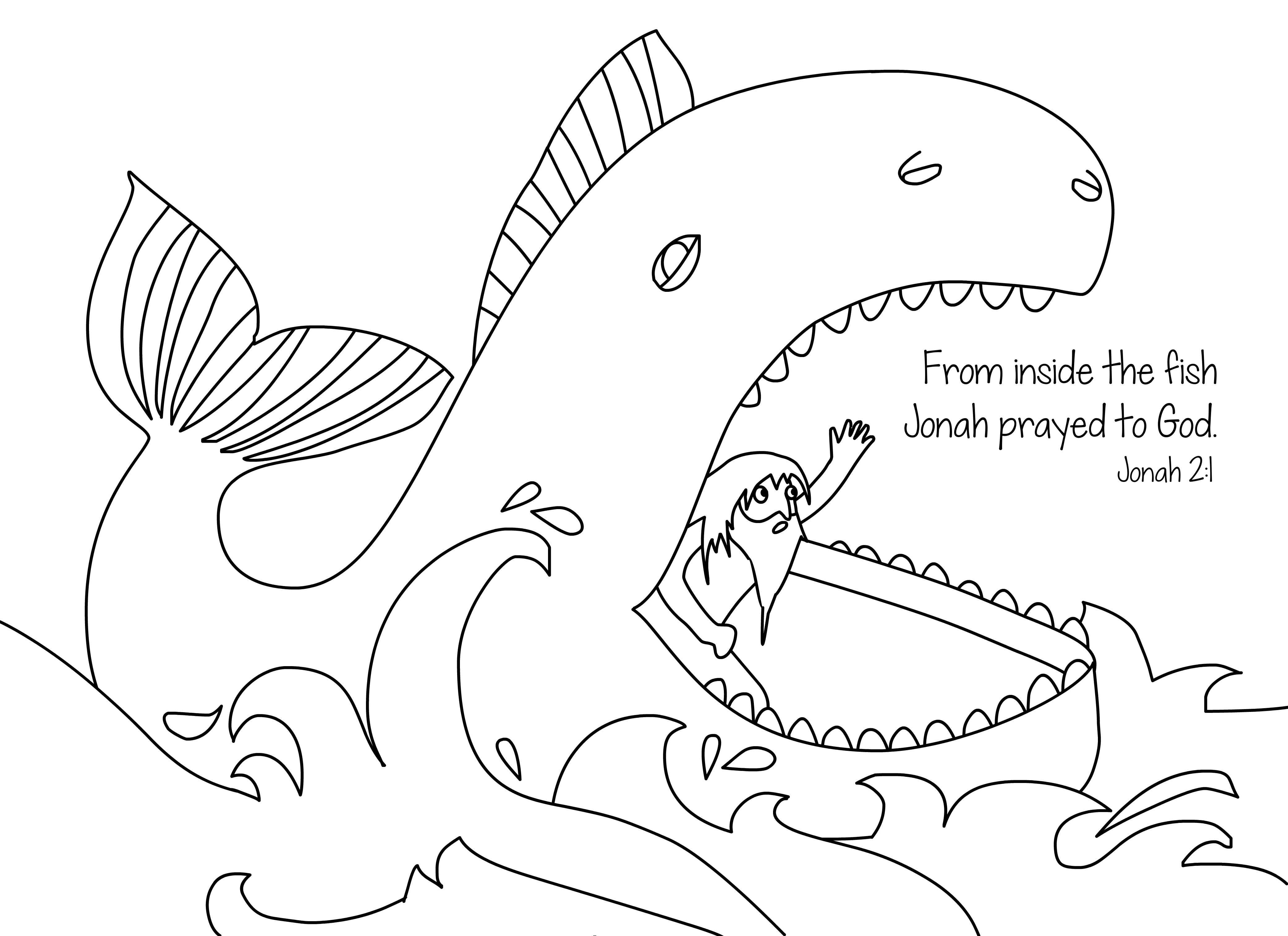 Jonah And The Whale Free Bible Coloring Page From Cullen S Abc S