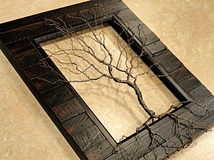 Spiralseil Skulptur Lebensbaum Skulptur Holz gerahmt Baum