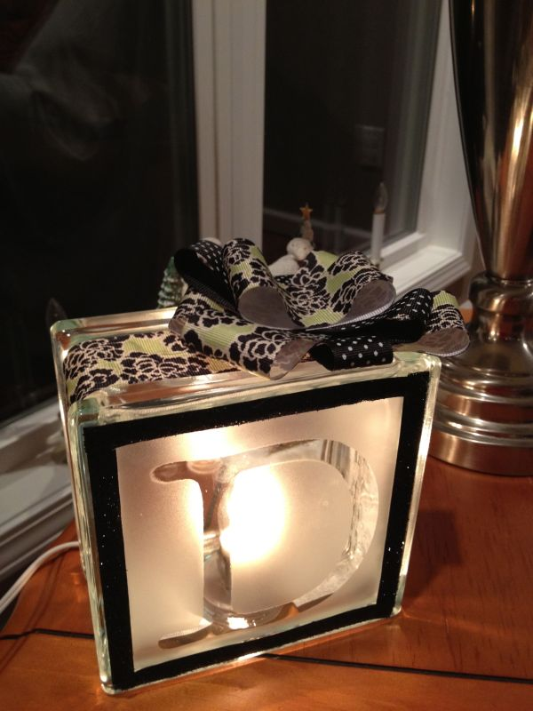 Light block with frosted glass monogram. This was a fun ...