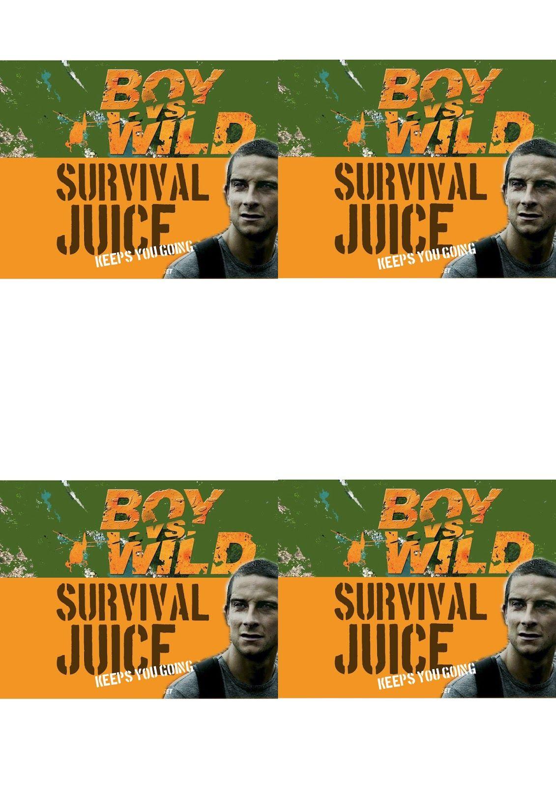 Greatfun4kids Free Printable Boy Vs Wild Party Drink Bottle Labels