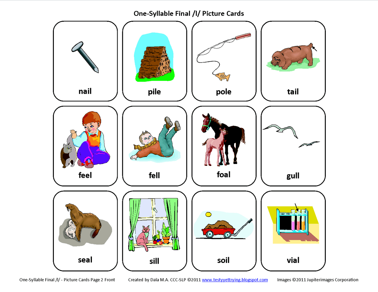 Final L Speech Therapy Articulation Cards Page 2 Front