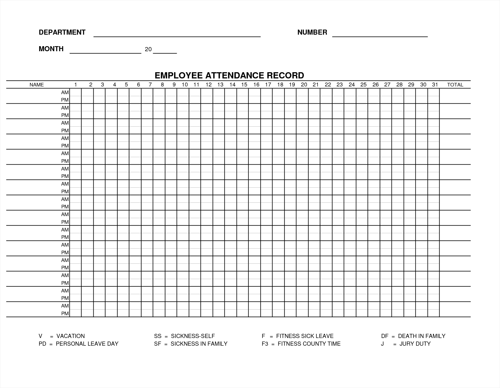 Monthly Attendance Sheet Templates Excel Xlts Rent Receipt
