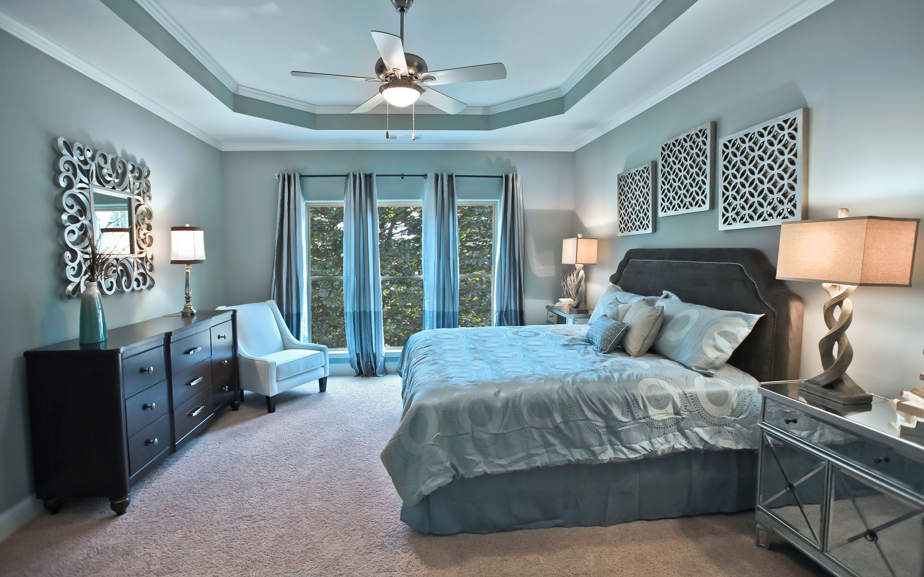 The beautifully decorated master bedroom inside the model ... on New Model Bedroom  id=77707