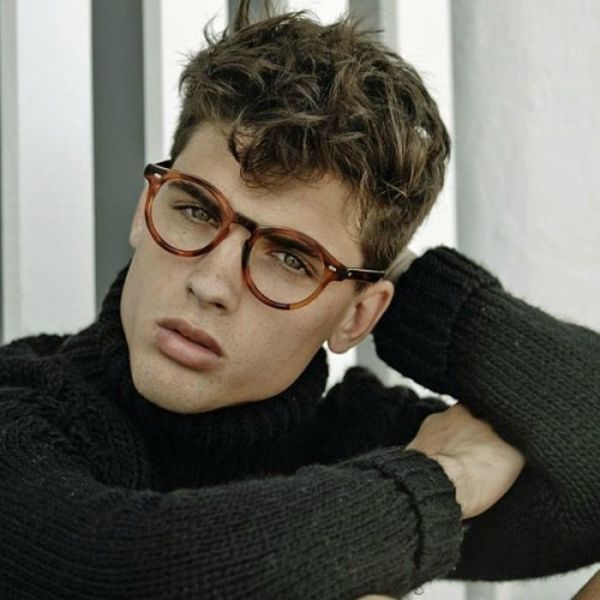 Model Daniel Illescas in round retro tortoiseshell glasses ...