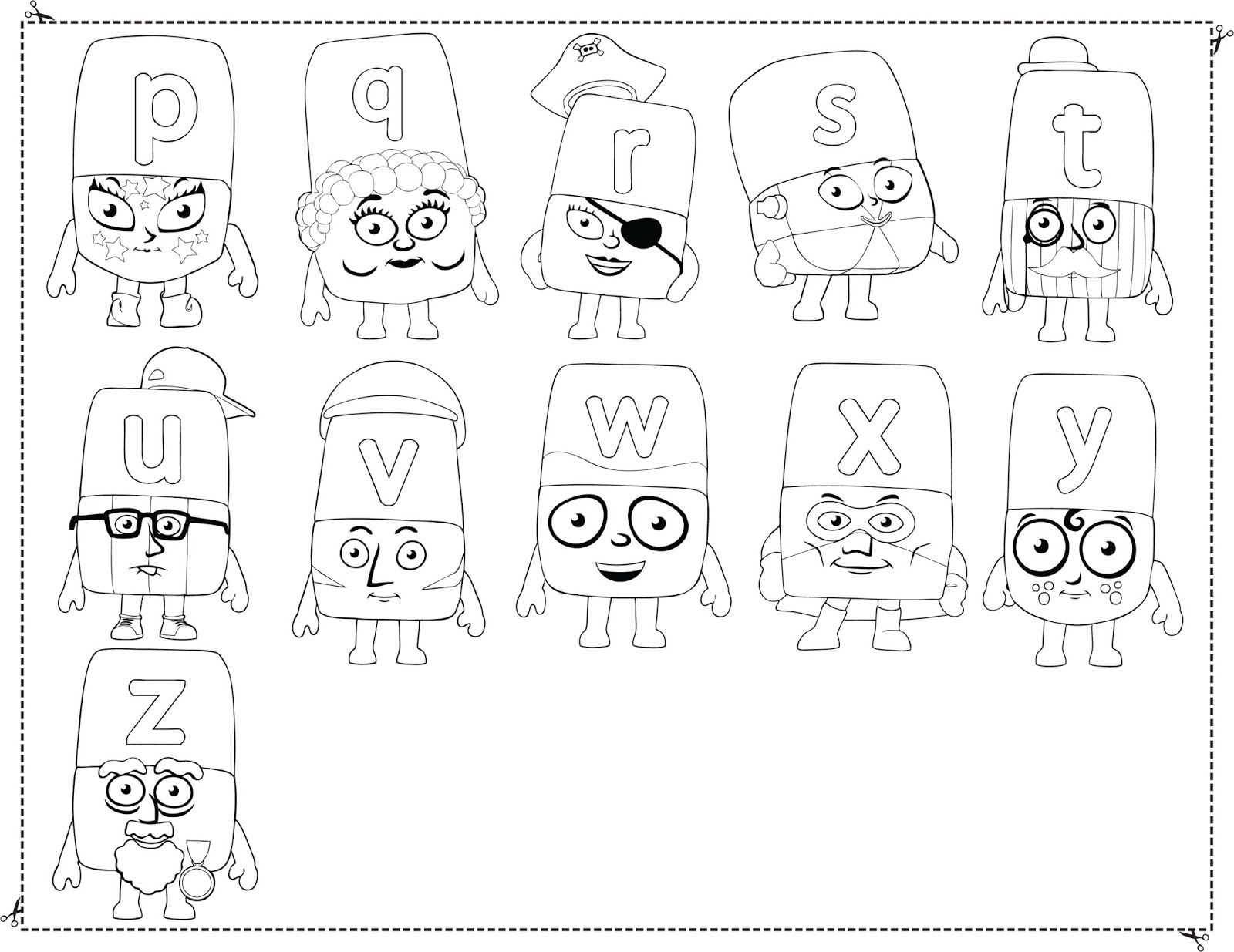 Alphablocks Colouring Chart