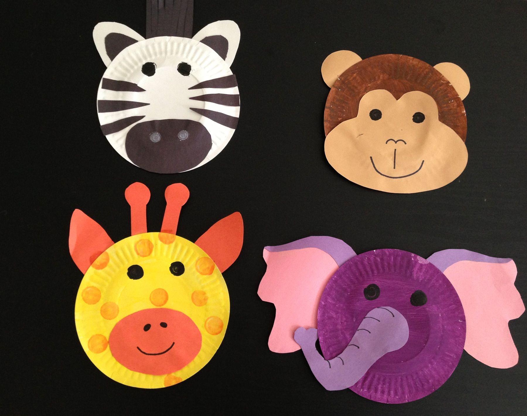 Safari Theme Crafts Paint Plates Construction Paper Glue Sticks