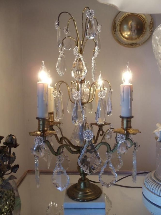 Antique Vtg French Brass Crystal Chandelier Girandole Candelabra Table Lamp