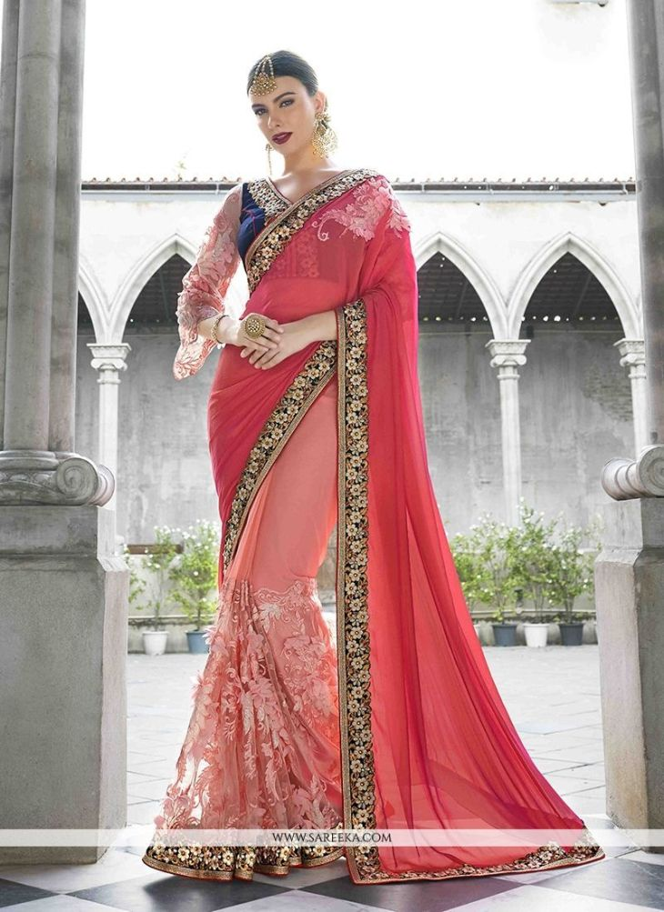 Faux Chiffon Embroidered Work Classic Designer Saree  Saree