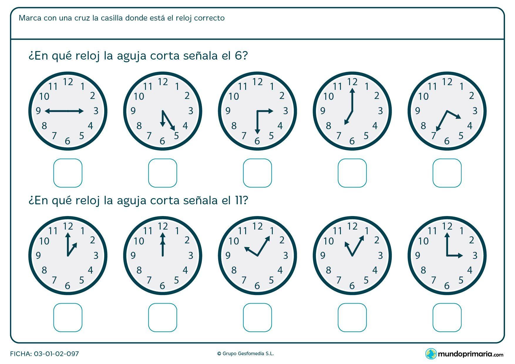 Ficha De Que Marca La Aguja Del Reloj Para Primero De