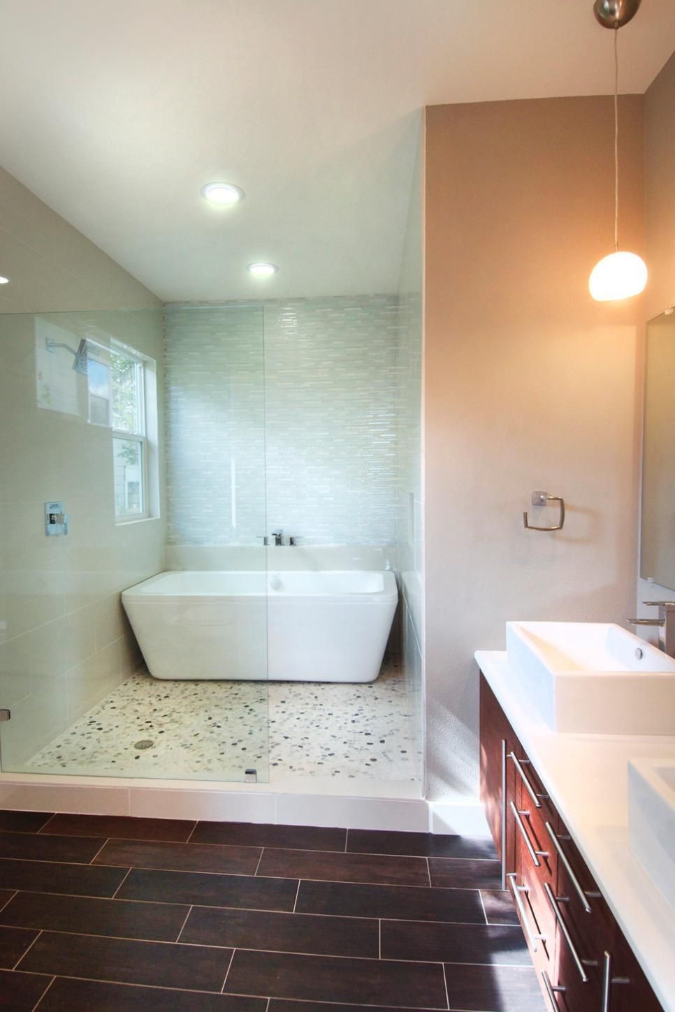 This contemporary bathroom features a spa-like wet room ... on Wet Room With Freestanding Tub  id=30909