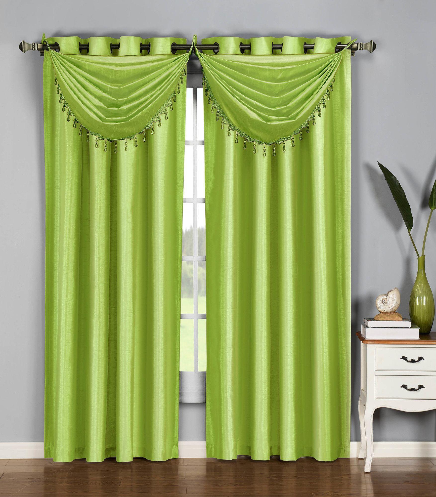 Jamie Faux Silk Waterfall Window Curtain Valance