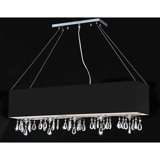 This Modern Rectangular Crystal Chandelier Is A Trendy Alternative To The Familiar Round Fixtures Found In Many Homes Bold Black Chrome And Dazzling Pieces