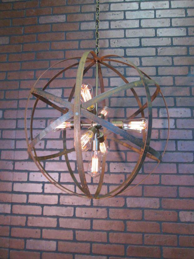 Rustic Chandelier Wine Barrel Ring Light Orb Ceiling 24 Sphere 7 Sputnik Black