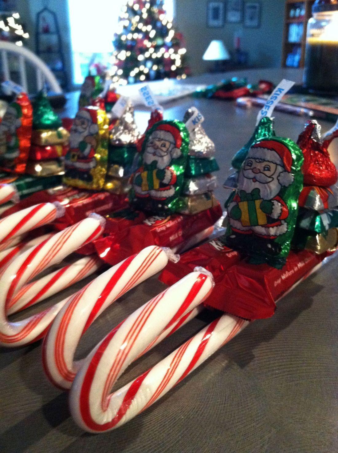 Candy santa sleighs for nursing home residents girl