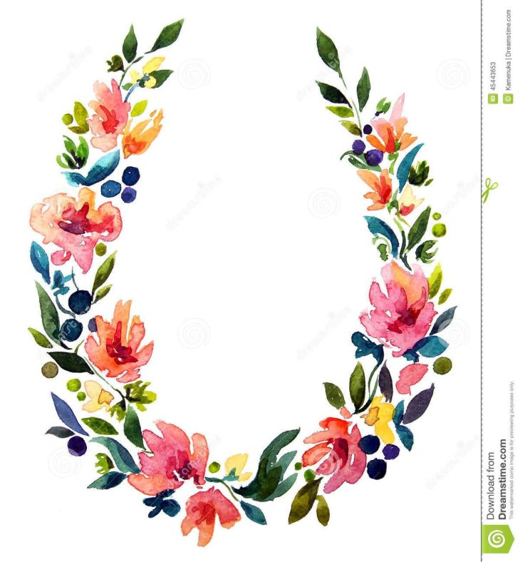 Hand Painted Watercolor Wreath Flower Decoration Download From