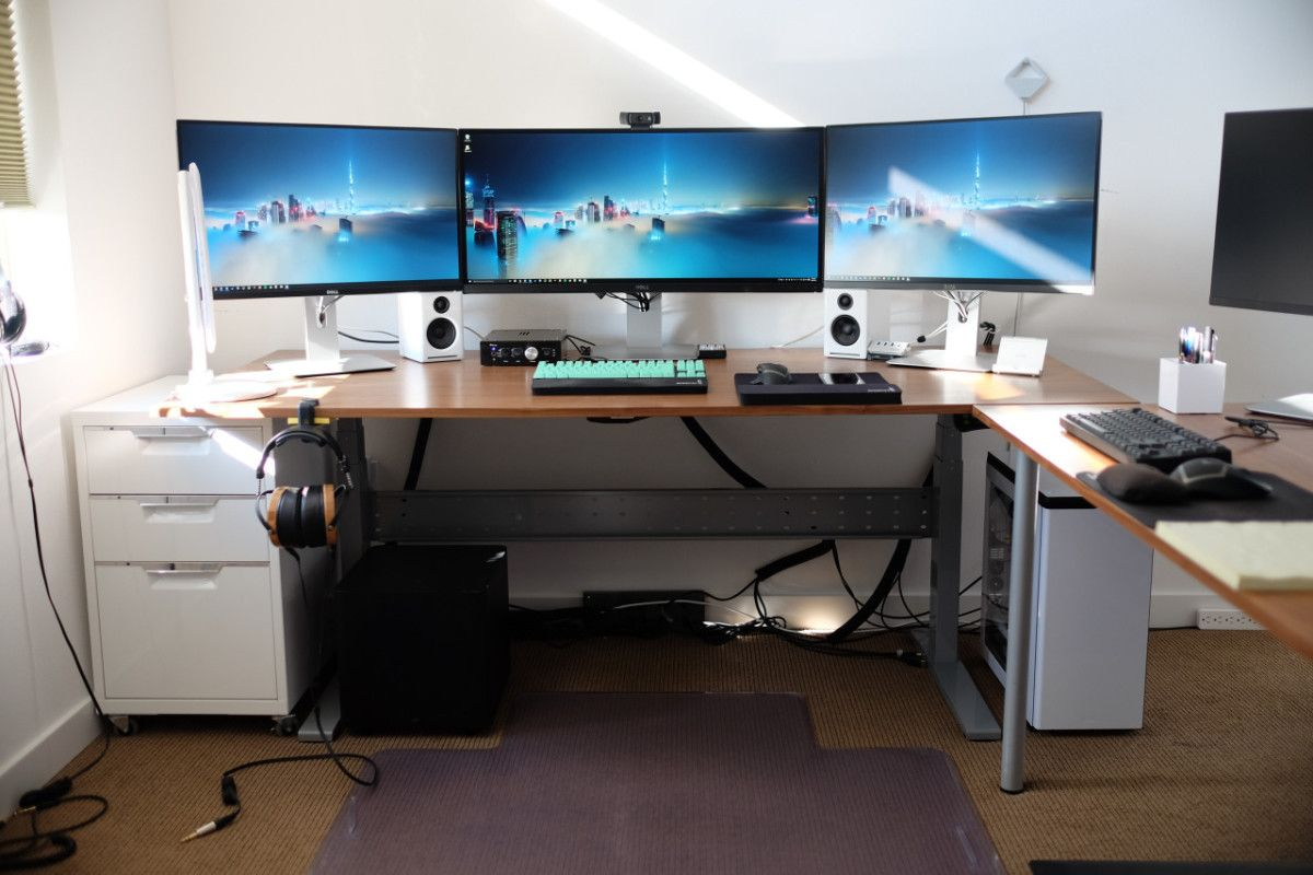IKEA Gaming Computer Desk Setup With Drawer Also Triple