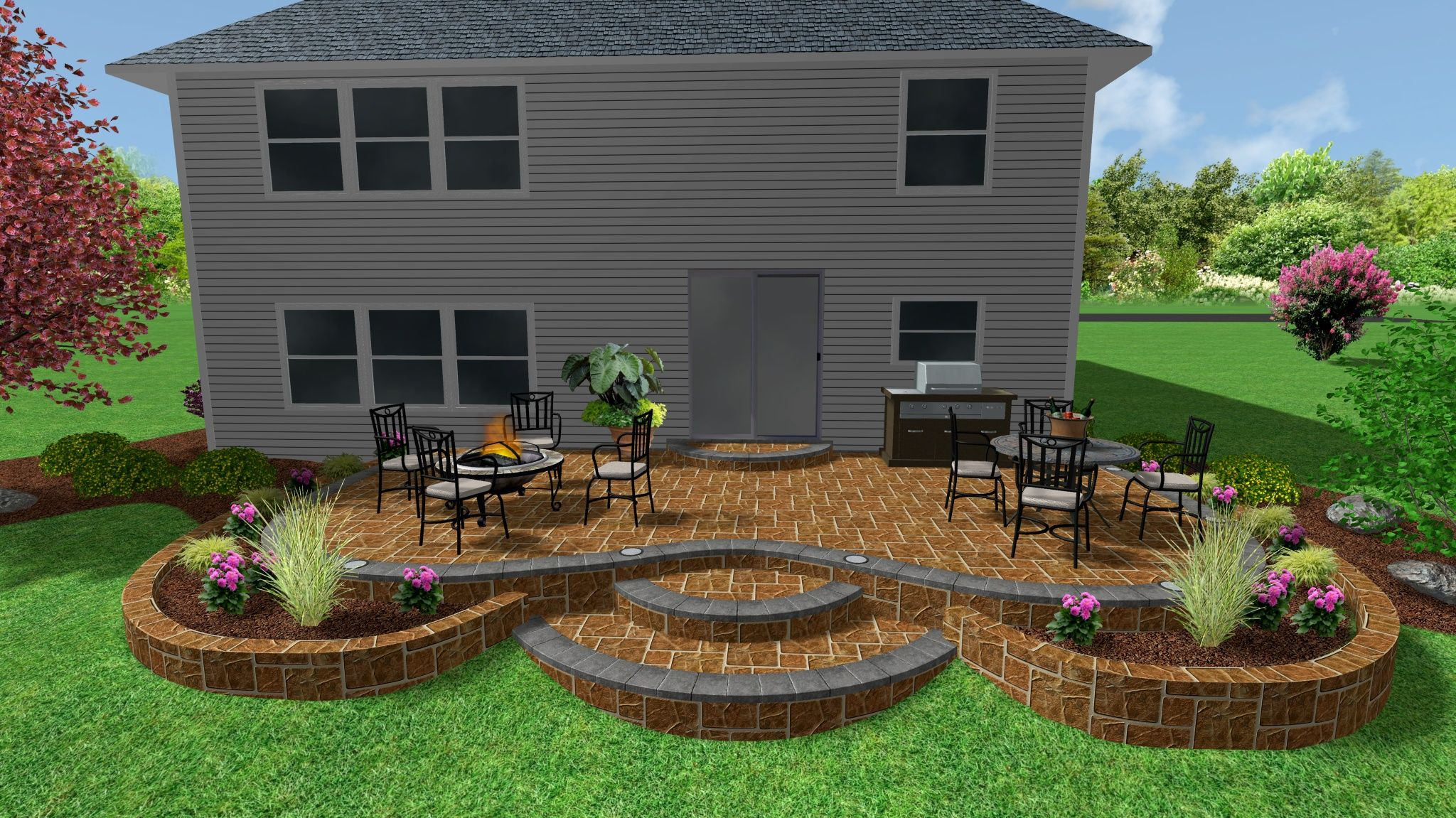 Raised Stamped Concrete Patio and Garden wall. | 3D ... on Square Concrete Patio Ideas  id=32538