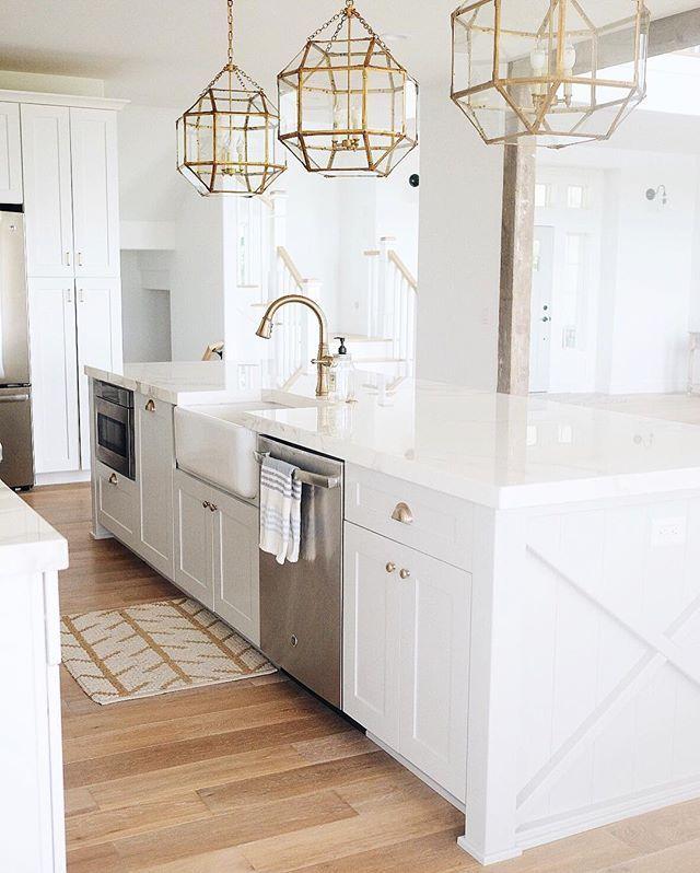 white kitchen brass pendants wood floors kitchen inspiration pinterest kitchens woods on kitchen cabinets gold hardware id=26842