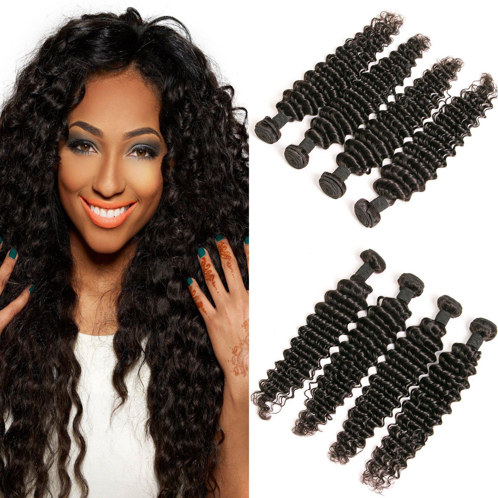 DAIMER Deep Wave 4 Bundles Brazilian Hair Unprocessed Raw Virgin