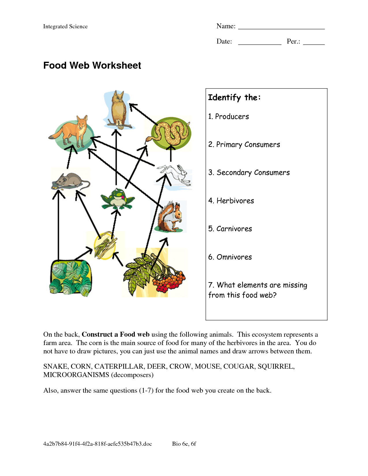 Food Web Worksheets Food Web Worksheet