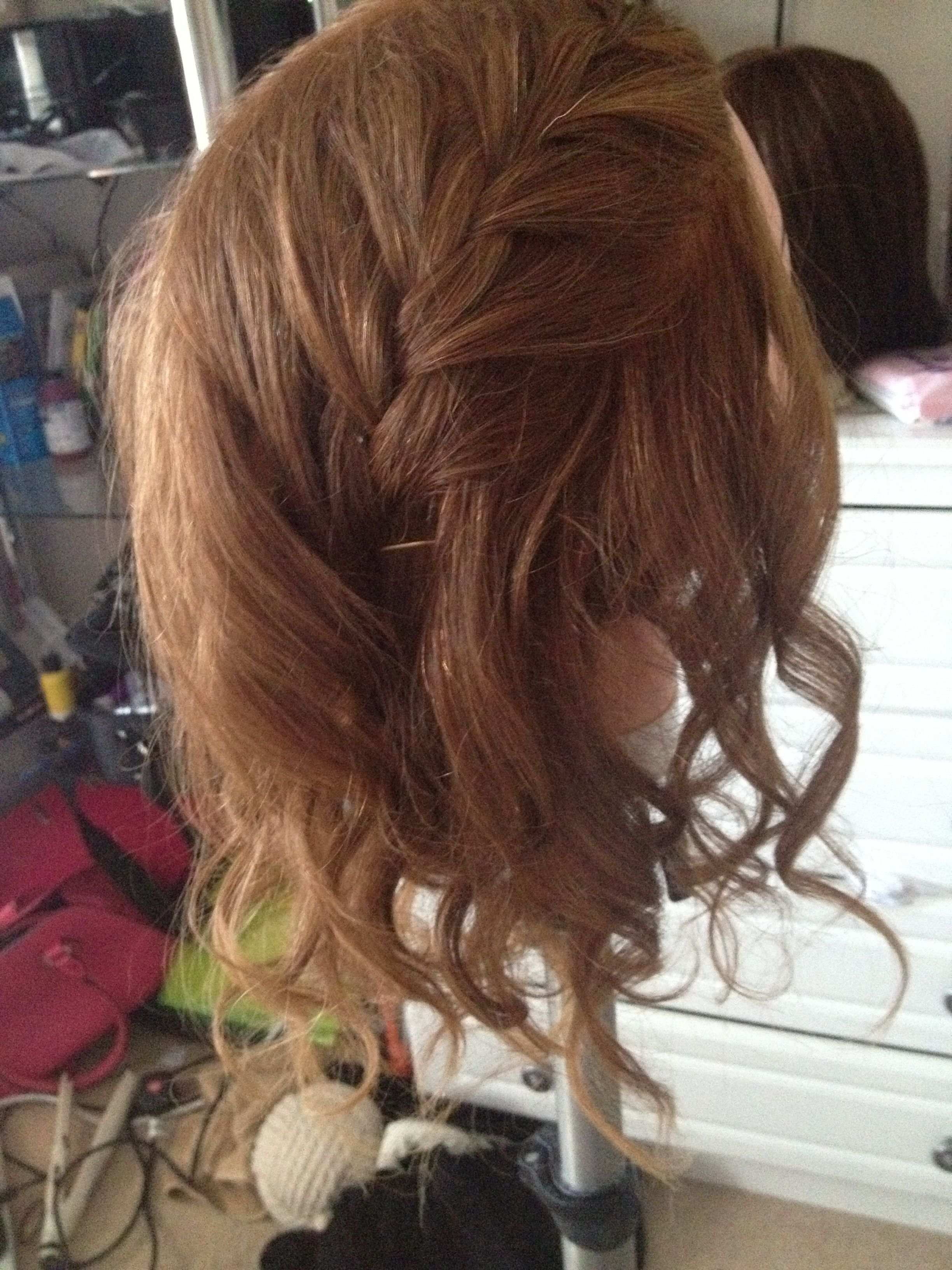French braid with curls for long for short and for medium hair