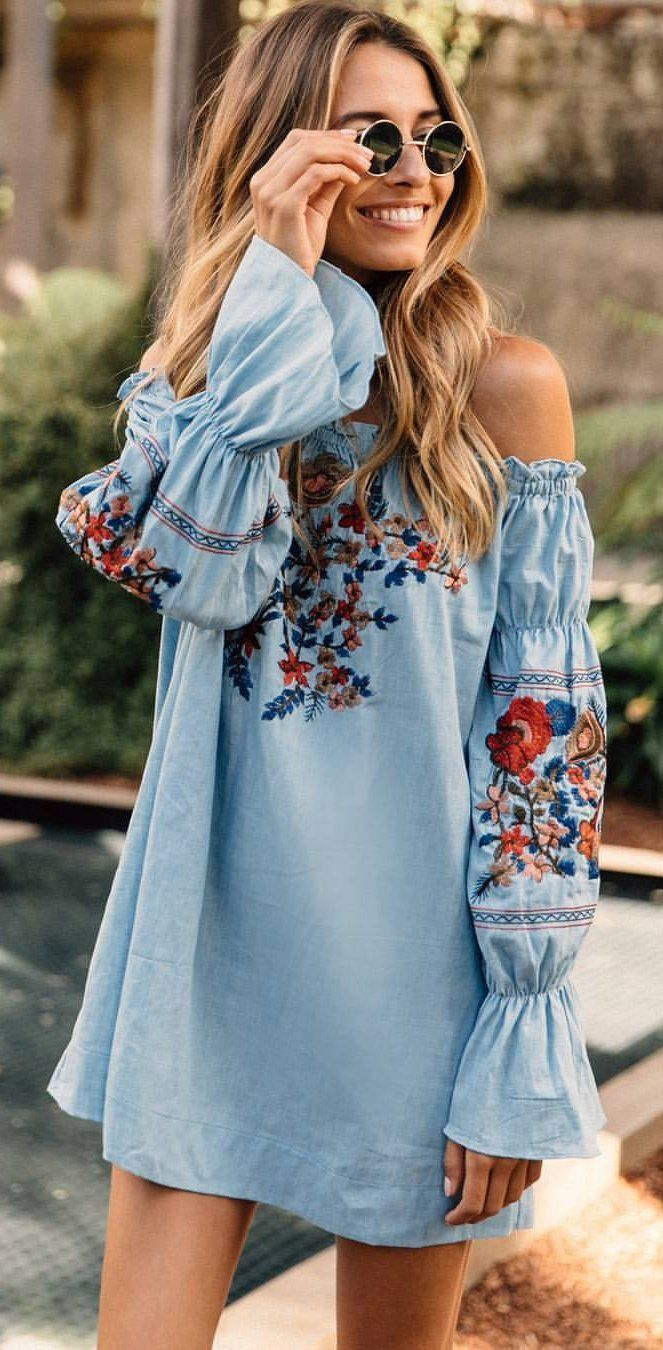 Summer Outfits Blue Floral Embroidered Off The Shoulder
