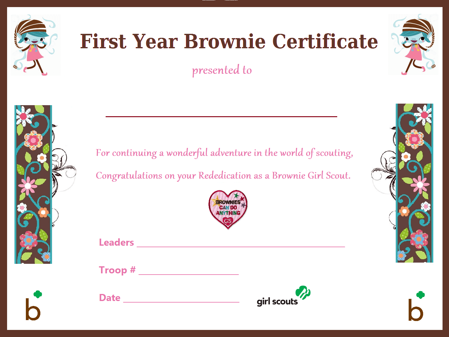 I Made This First Year Brownie Certificate For Our