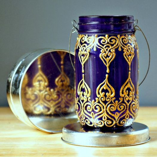 Hand Painted Mason Jar Lantern Royal Purple Glass With Golden Detailing Explore More Diy