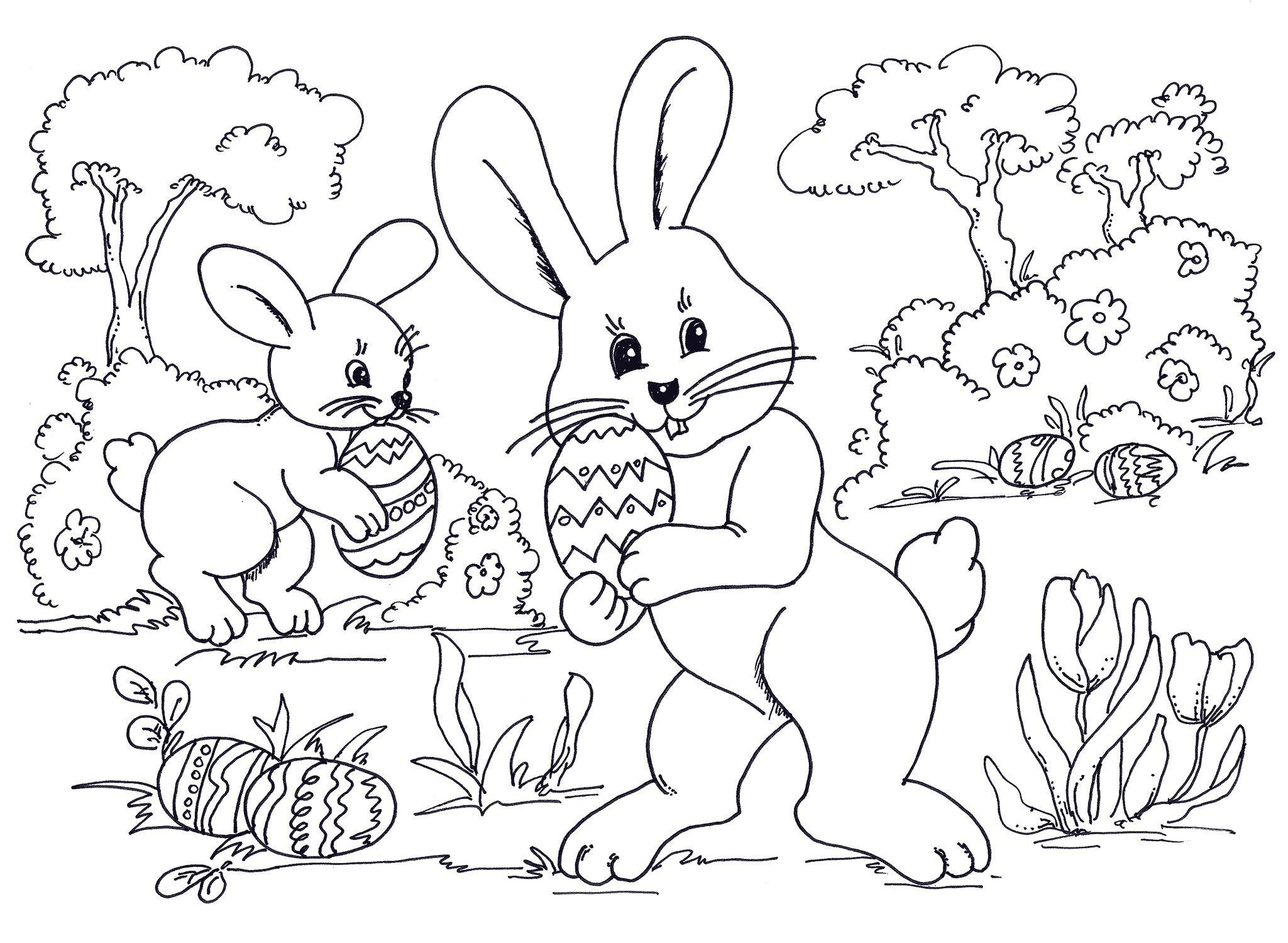 Easter Coloring Sheets Egg Hunting Bunnies Wallpaper Hd Holiday