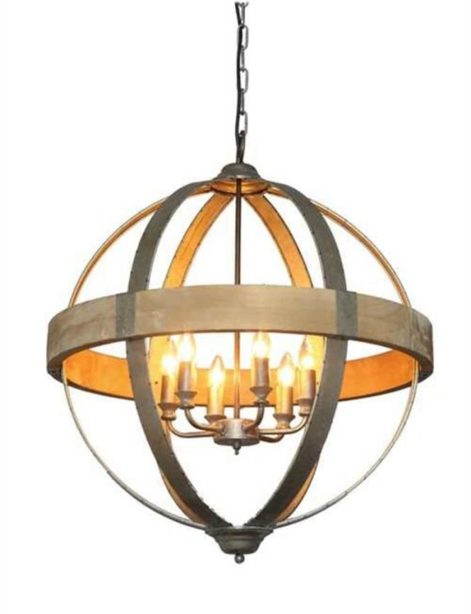 Round Ball Shaped Metal And Wood Chandelier W Pendant 6 Light Galvanized Tin