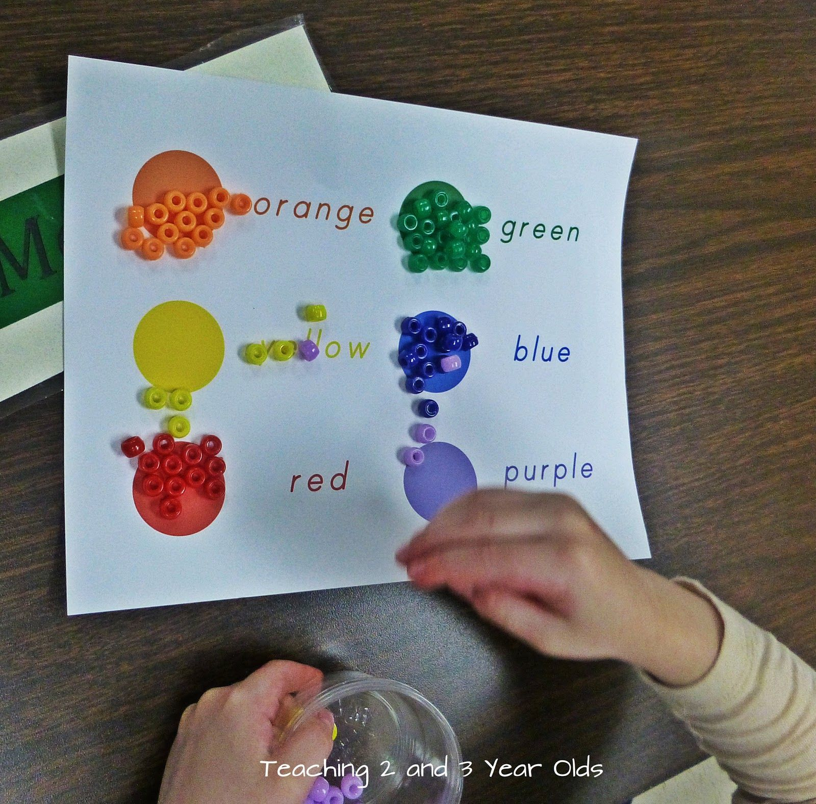 Teaching 2 And 3 Year Olds Color Sorting Using Beads
