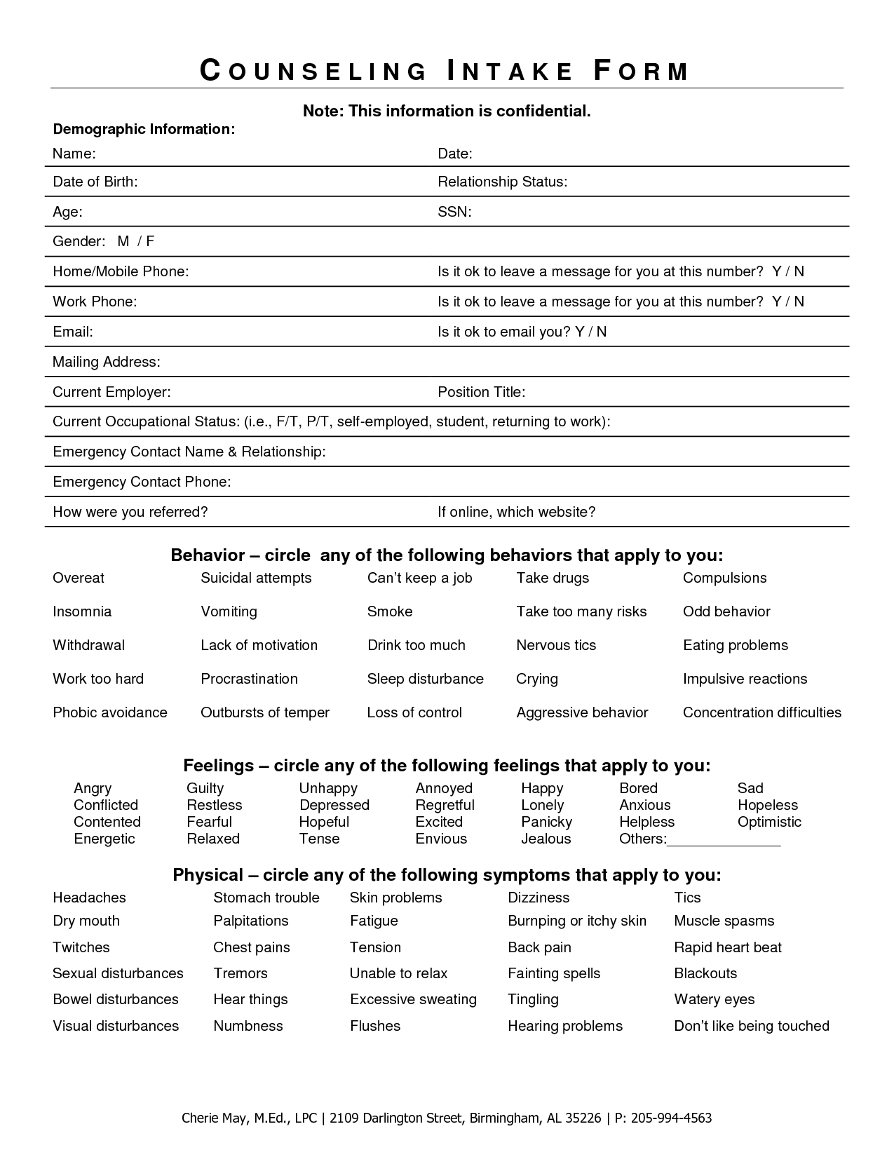 Intake Form For Counseling Clients