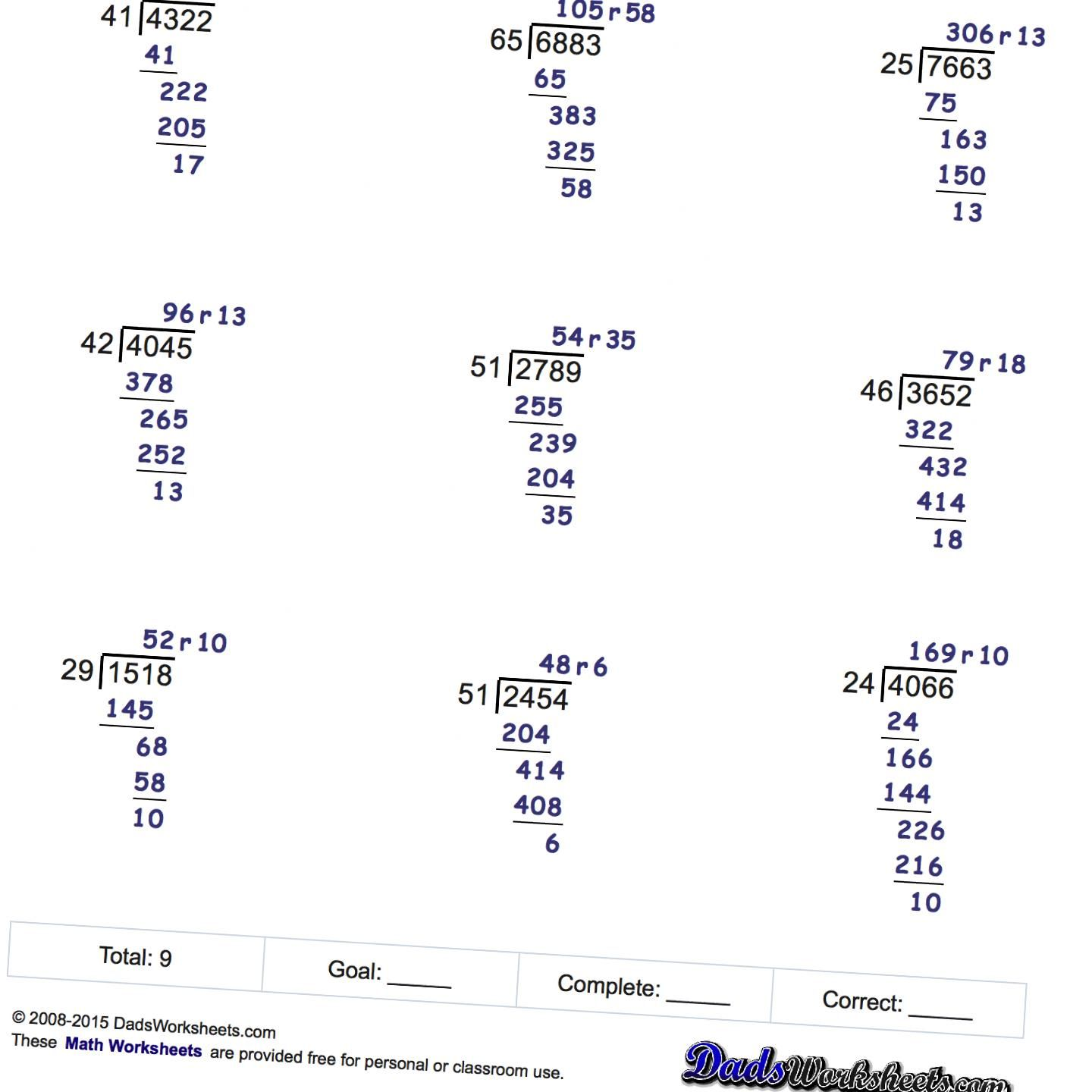 Free Printable Long Division Worksheets With Multiple Digit Divisors With And Without