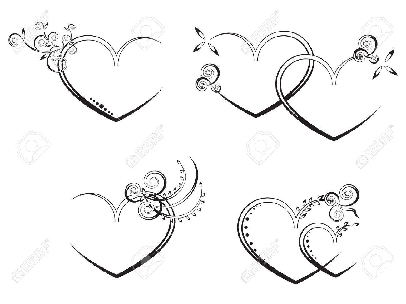 Flora Heart Stock Vector Wedding Heart Design
