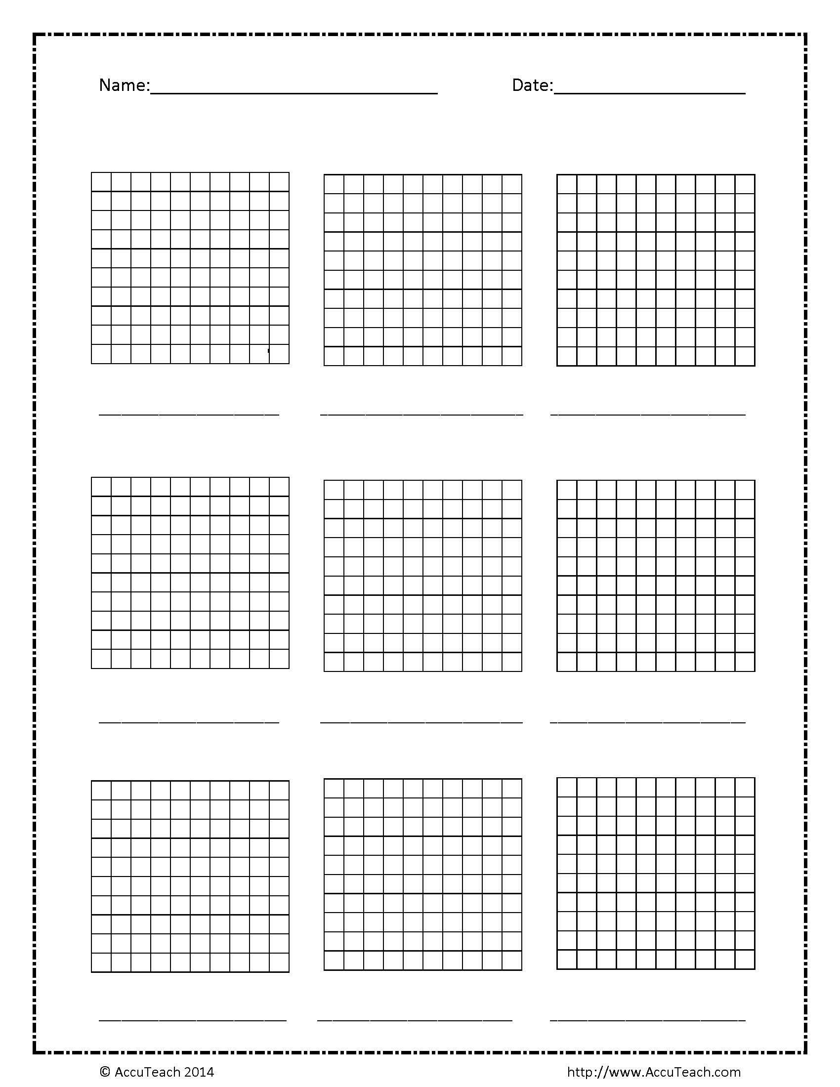 Blank Base Ten Hundreds Frame