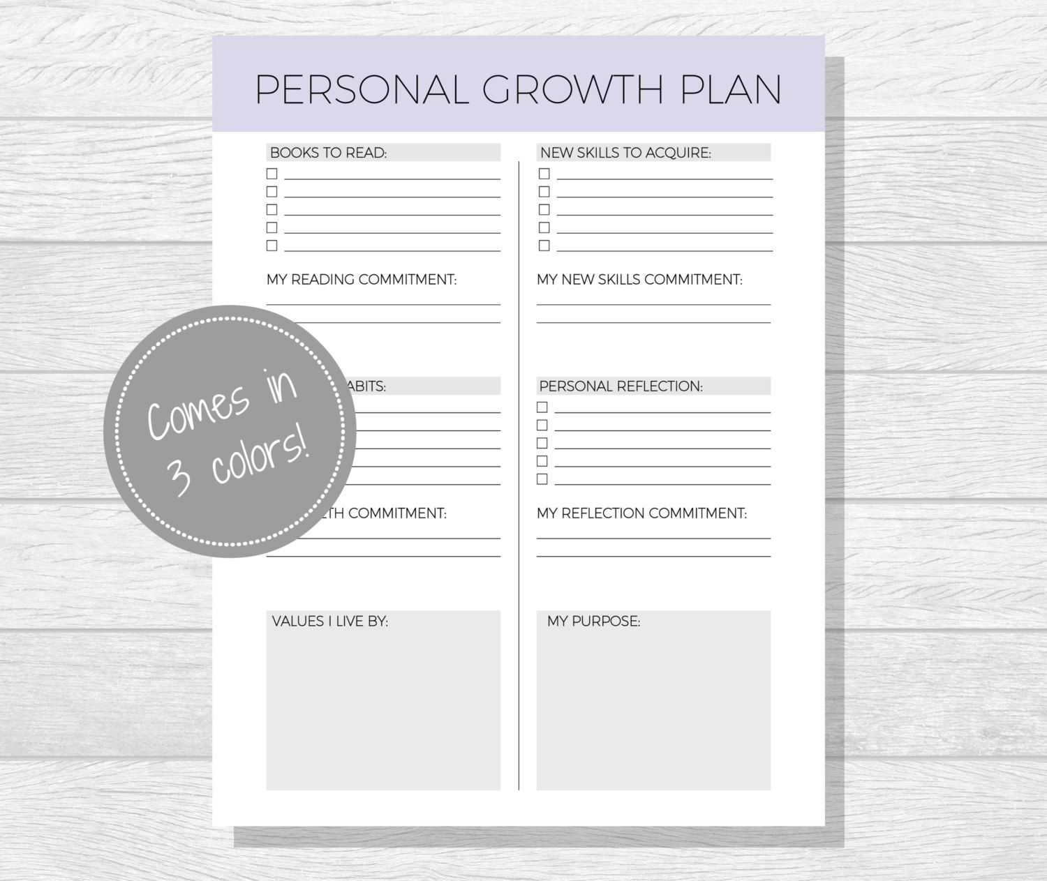 Personal Growth Plan Printable