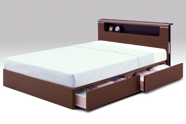 Bedroom Brown Wooden Double Bed With Storage White Mattress Background Make Your Room Look Organized