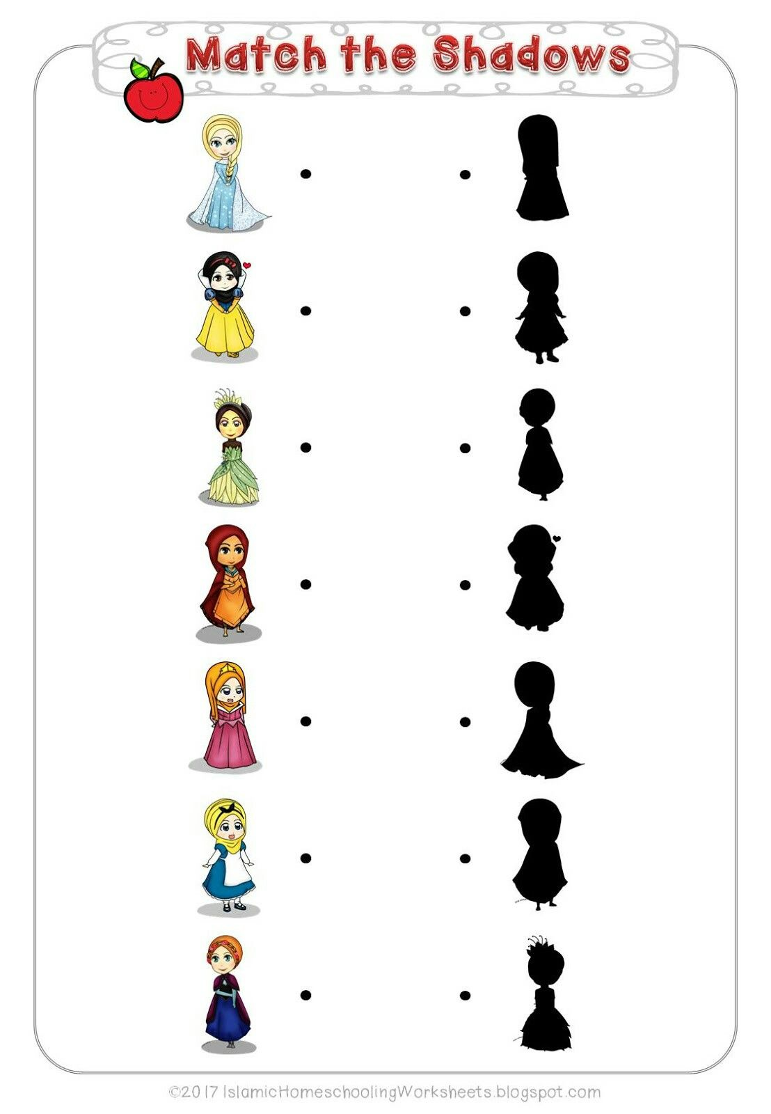 Match The Shadows In Free Disney Princess Preschool Pack