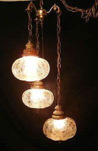 Hanging Lamps That Plug Into Wall Vintage Mid Century 3 Light