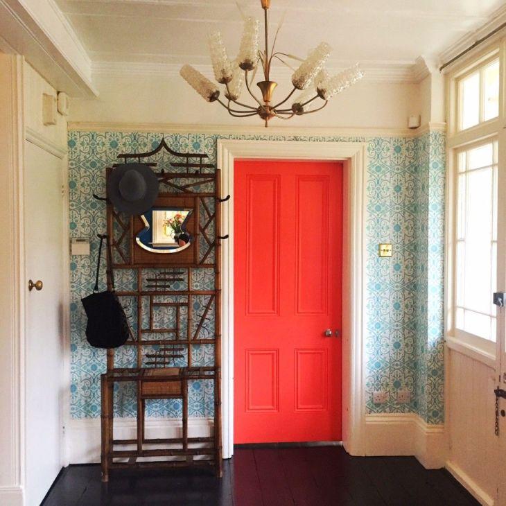Orange door in the home of Sarah Mitchenall winner of the Great